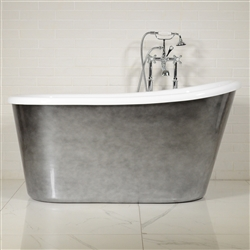 "LUXWIDE 'Hermes-54ACHSK' 54"" White CoreAcryl Acrylic Swedish Slipper Skirted Tub Package with an Aged Chrome Exterior"