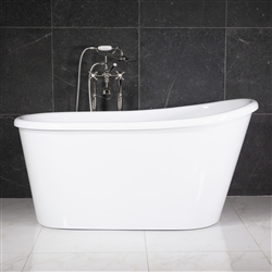 "LUXWIDE 'Hermes-54WHSK' 54"" White CoreAcryl Acrylic Swedish Slipper Skirted Tub Package"