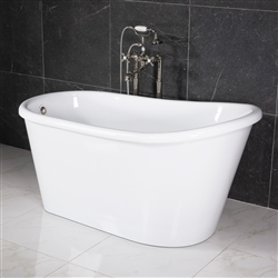 "LUXWIDE 'Hermes-58WHSK' 58"" White CoreAcryl Acrylic Swedish Slipper Skirted Tub Package"