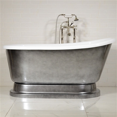 "LUXWIDE 'Iris' 54-ACHPD"" White CoreAcryl Acrylic Swedish Slipper Pedestal Tub Package with an Aged Chrome Exterior"