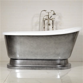 "LUXWIDE 'Iris' 58-ACH"" White CoreAcryl Acrylic Swedish Slipper Pedestal Tub Package with an Aged Chrome Exterior"