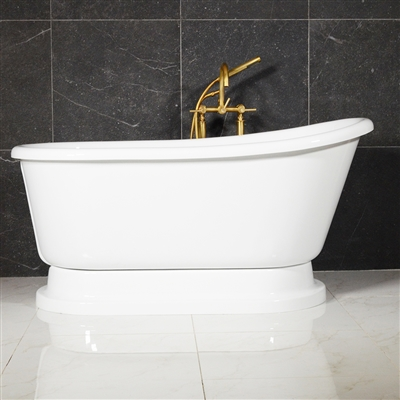 "LUXWIDE 'Iris-58WH' 58"" White CoreAcryl Acrylic Swedish Slipper Pedestal Tub Package"