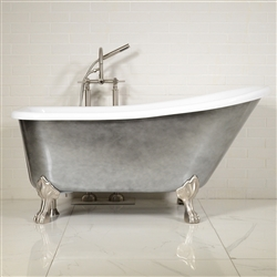 "LUXWIDE 'LUCHINO-ACH' 59"" CoreAcryl Acrylic Single Slipper Clawfoot Tub Package with an Aged Chrome Exterior"