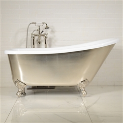 "LUXWIDE 'LUCHINO-USL' 59"" CoreAcryl Acrylic Single Slipper Clawfoot Tub Package with an Umber Tinted Silver Leaf Exterior"