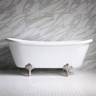 "<br>HLBT59 59"" Hotel Collection CoreAcryl Acrylic French Bateau Clawfoot Tub with Feet"