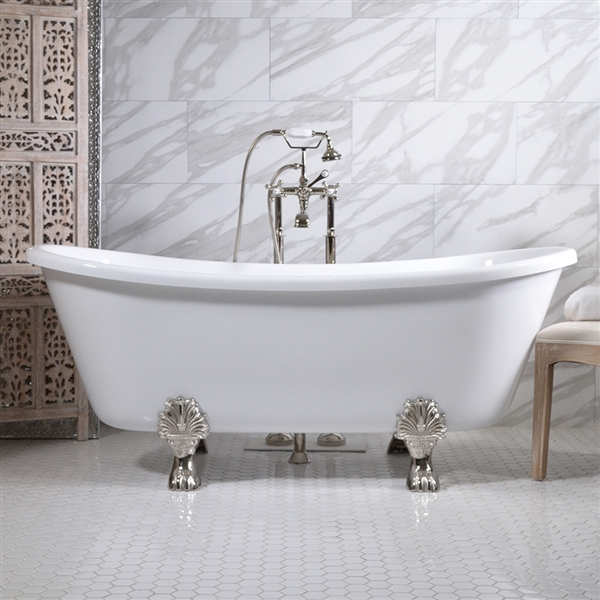 "HLBT67FPK 67"" Hotel Collection CoreAcryl Acrylic French Bateau Clawfoot Tub and Faucet Pack"