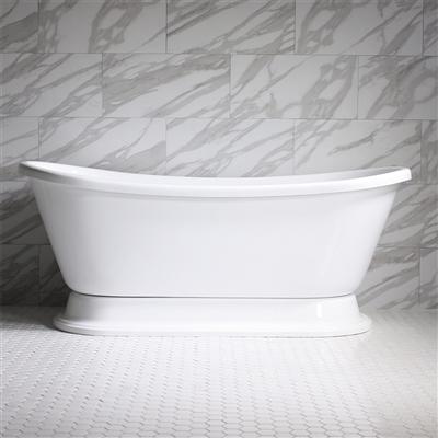 "<br>HLBTPD59 59"" Hotel Collection CoreAcryl Acrylic French Bateau Pedestal Tub with Base"