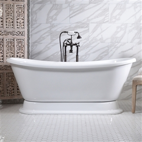 "HLBTPD73FPK 73"" Hotel Collection CoreAcryl Acrylic  French Bateau Pedestal Tub and Faucet Pack"