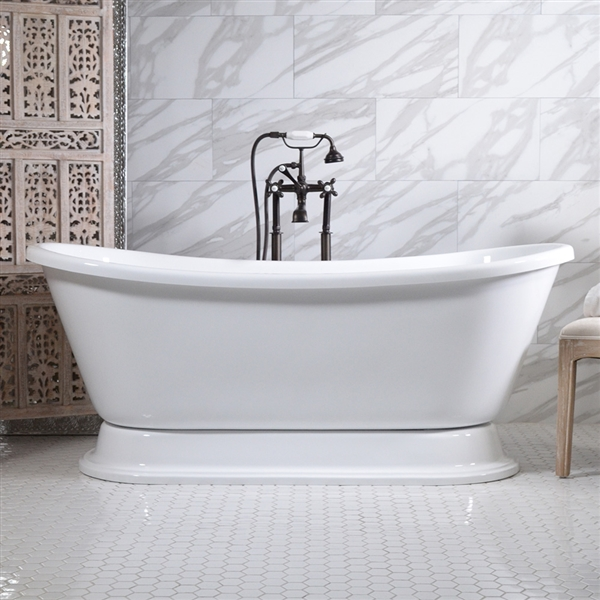 73in French Bateau Pedestal Bathtub and Faucet