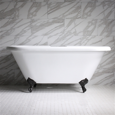 "HLDBL67 67"" Hotel Collection CoreAcryl Acrylic Double Ended Clawfoot Tub with Feet"