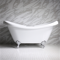 "HLDS67 67"" Hotel Collection CoreAcryl Acrylic  Double Slipper Clawfoot Tub with Feet"