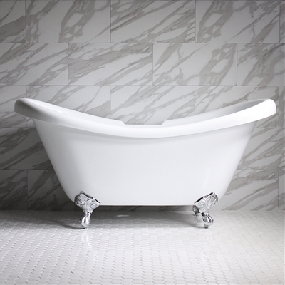 "HLDS73 73"" Hotel Collection CoreAcryl Acrylic Double Slipper Clawfoot Tub with Feet"