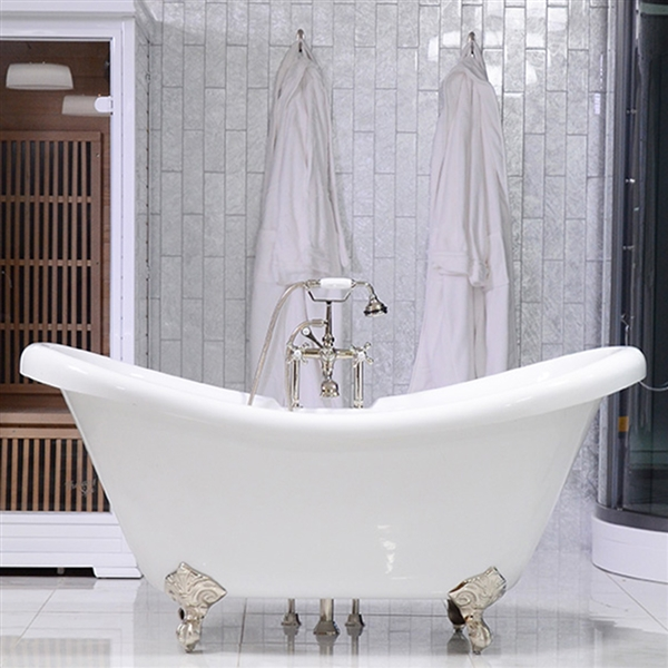 59in Double Slipper Clawfoot Bathtub and Faucet