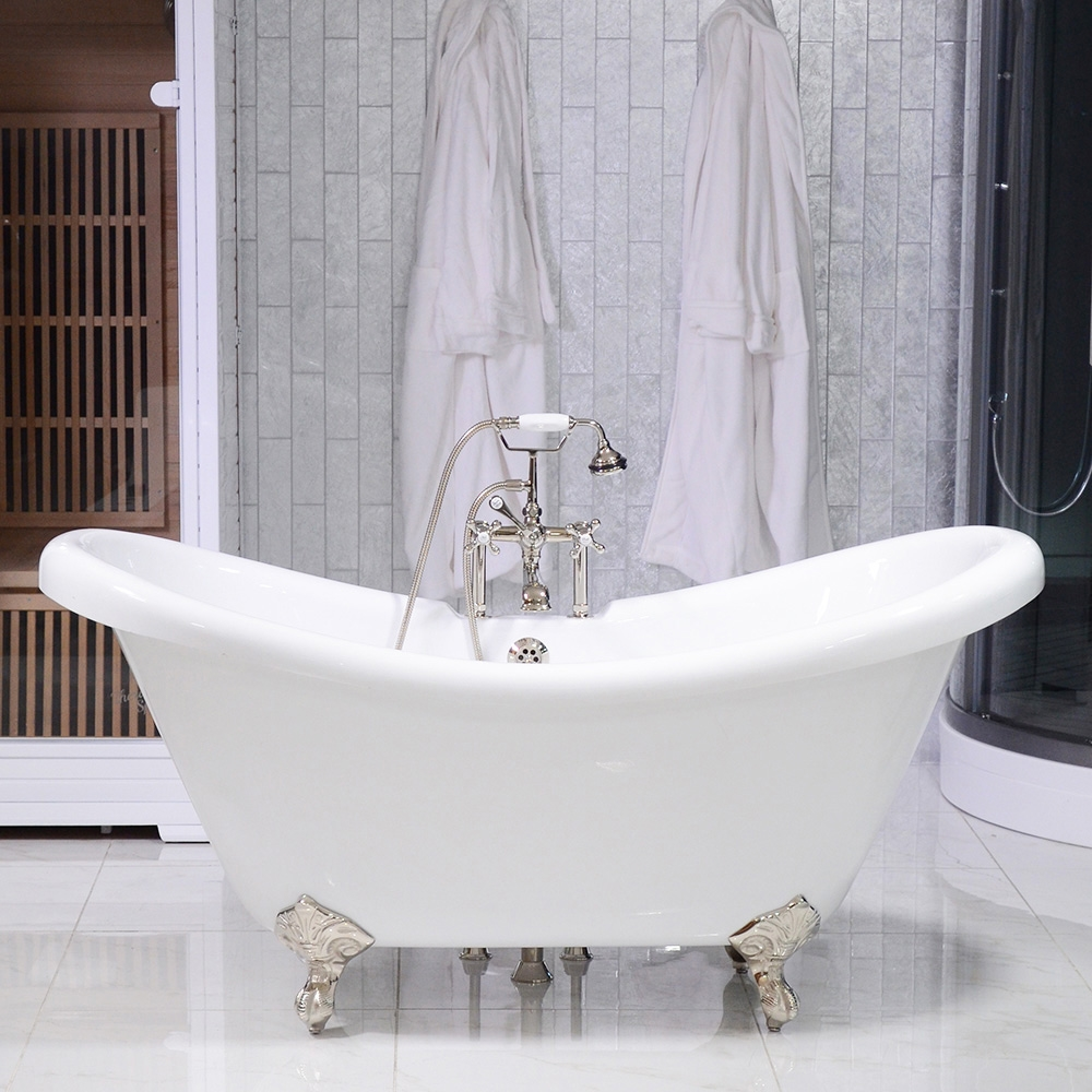Hlds59fpk 59 Hotel Collection Double Slipper Clawfoot Tub And