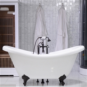 67in Double Slipper Clawfoot Bathtub and Faucet
