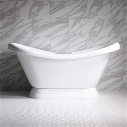 59in Acrylic Double Slipper Pedestal Tub with Base