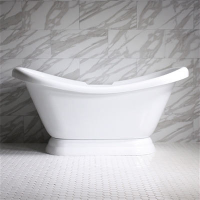 73in Acrylic Double Slipper Pedestal Tub with Base