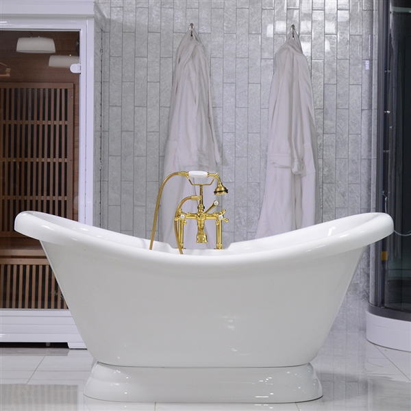 59in  Double Slipper Pedestal Bathtub and Faucet