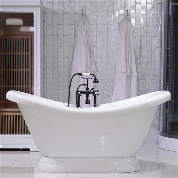 67in Double Slipper Pedestal Bathtub and Faucet