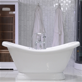 73in Double Slipper Pedestal Bathtub and Faucet