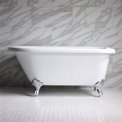 "<br>HLFL56 56"" Hotel Collection CoreAcryl Acrylic  Classic Clawfoot Tub with Feet"