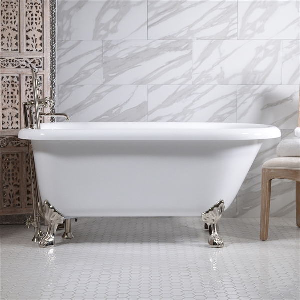 "<br>HLFL59FPK 59"" Hotel Collection CoreAcryl Acrylic   Classic Clawfoot Tub and Faucet Pack"