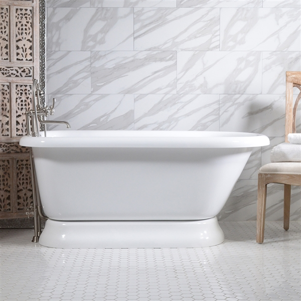 53in Acrylic Classic Pedestal Bathtub and Faucet