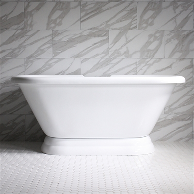 "HLPD73 73"" Hotel Collection CoreAcryl Acrylic Double Ended Pedestal Tub with Base"