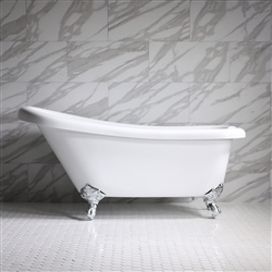 "<br>HLSL57 57"" Hotel Collection CoreAcryl Acrylic  Single Slipper Clawfoot Tub with Feet"
