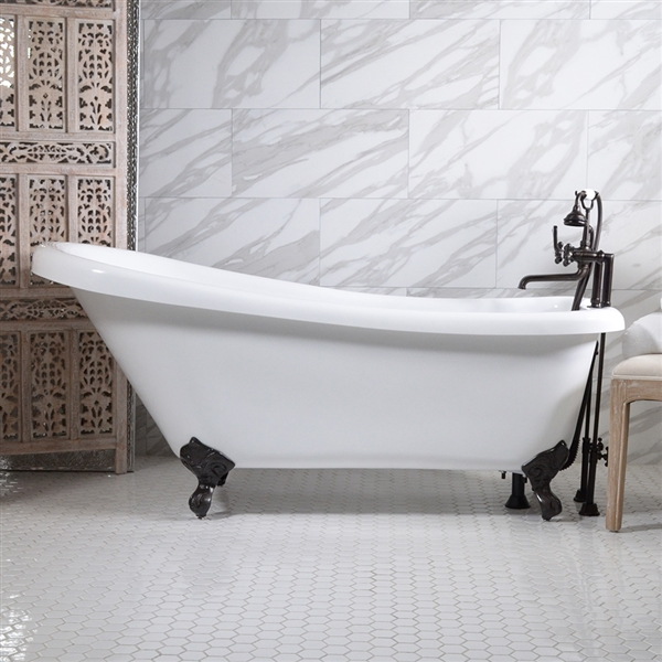 59in Single Slipper Clawfoot Bathtub and Faucet