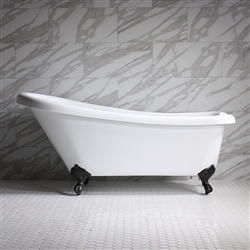 "HLSL67 67"" Hotel Collection CoreAcryl Acrylic Single Slipper Clawfoot Tub with Feet"