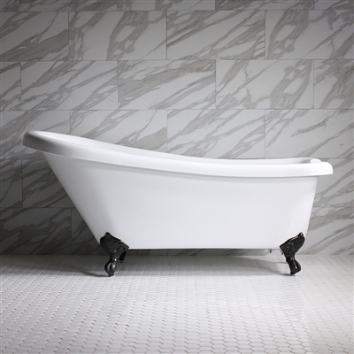 "<br>HLSL67 67"" Hotel Collection CoreAcryl Acrylic Single Slipper Clawfoot Tub with Feet"