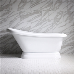 57in Acrylic Single Slipper Pedestal Tub with Base