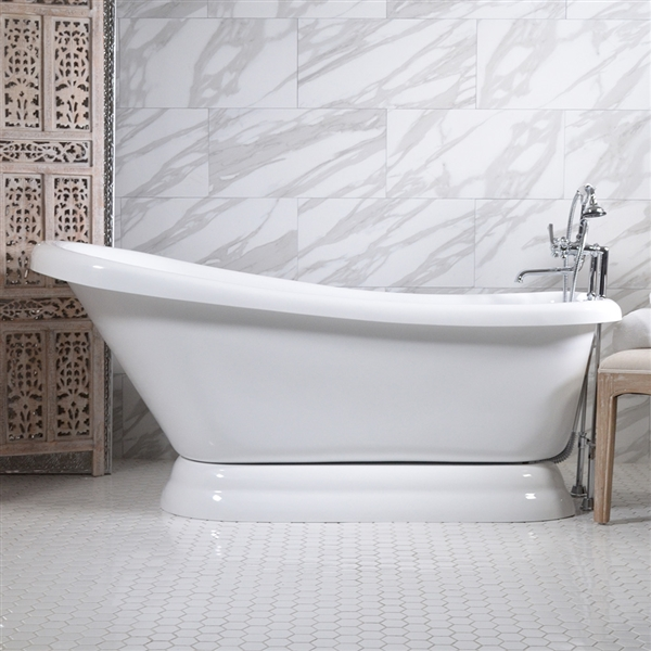 57in Single Slipper Pedestal Bathtub and Faucet