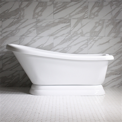 "HLSLPD67 67"" Hotel Collection CoreAcryl Acrylic Single Slipper Pedestal Tub with Base"