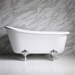 "HLSW58 58"" Hotel Collection CoreAcryl Acrylic Swedish Slipper Clawfoot Tub with Feet"