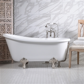 "<br>HLSW54FPK 54"" Hotel Collection CoreAcryl Acrylic Swedish Slipper Clawfoot Tub & Faucet Pack"