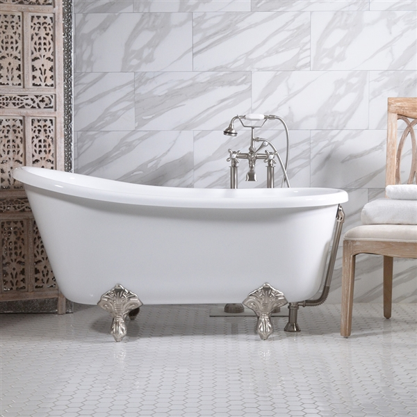 58in Swedish Slipper Clawfoot Bathtub and Faucet