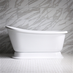 "HLSWPD54 54"" Hotel Collection CoreAcryl Acrylic Swedish Slipper Pedestal Tub with Base"