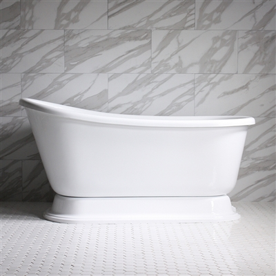 "HLSWPD62 62"" Hotel Collection CoreAcryl Acrylic Swedish Slipper Pedestal Tub with Base"