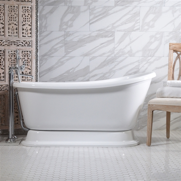 54in Swedish Slipper Pedestal Bathtub and Faucet