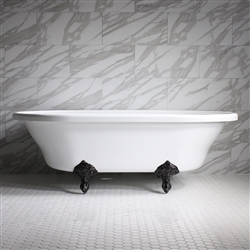 "HLXL73 73"" Hotel Collection CoreAcryl Acrylic Extra Large Double Ended Clawfoot Tub with Feet"