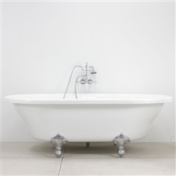 "<br>HLXL73FPK"" Hotel Collection CoreAcryl Acrylic Extra Large Double Ended Clawfoot Tub and Faucet Pack"