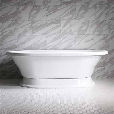 "HLXLPD73 73"" Hotel Collection CoreAcryl Acrylic  Extra Large Double Ended Pedestal Tub with Base"