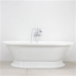 73in Acrylic Double End Pedestal Tub and Faucet