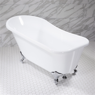 Baths of Distinction's innovative new Extra Wide 59 Inch Single Slipper Clawfoot Tub with chrome fittings, featuring built-in overflow drain.