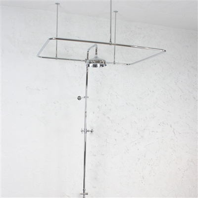 Heavy Duty BRUSHED NICKEL Clawfoot Tub Shower Enclosure Complete with Supports