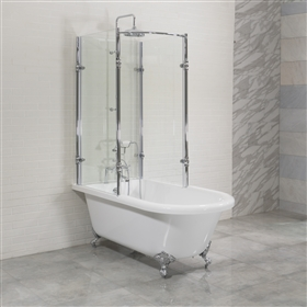"Oasis 59"" Extra Wide Clawfoot Shower Tub With Glass Shower Enclosure"