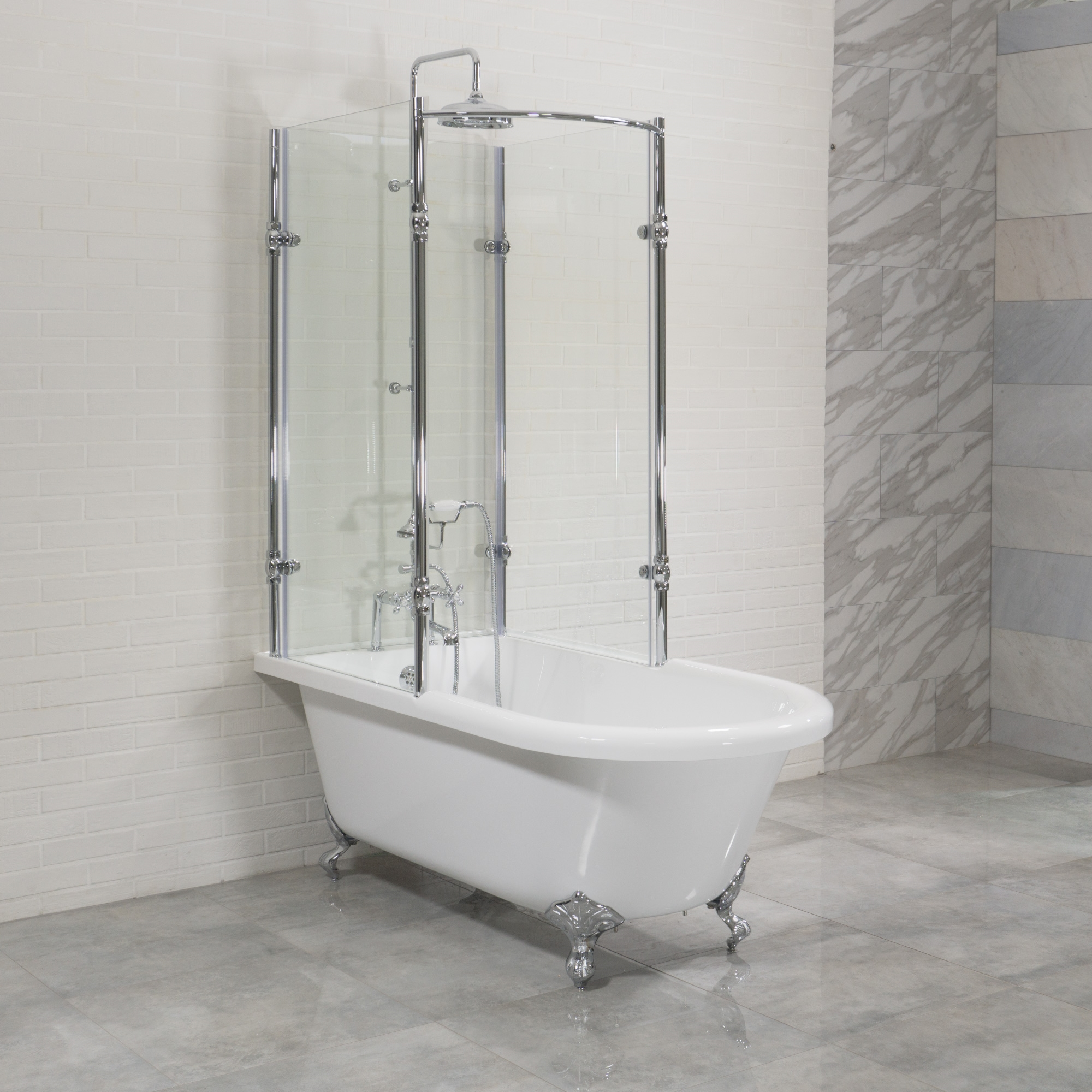Clawfoot Tub Shower Surround.Oasis 59 Shpk 59 Extra Wide Classic Clawfoot Shower Tub With Frosted Or Clear Tempered Glass Shower Enclosure Package