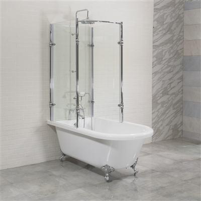 "'OASIS 65' SHPK - 65"" Extra Wide Classic Clawfoot Shower Tub with Frosted or Clear Tempered Glass Shower Enclosure Package"